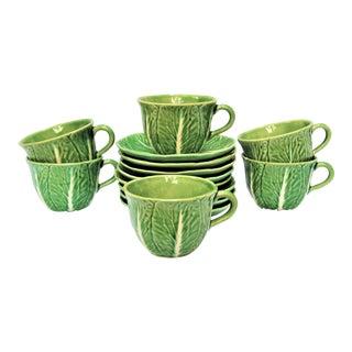 Vintage Majolica Cabbage Tea Set - Set of 14