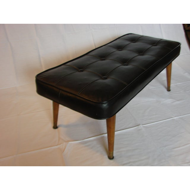 Black Tufted Leather Bench - Image 4 of 5