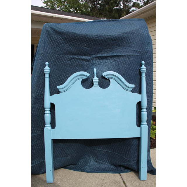 Hollywood Regency / Georgian / Glam Beach Peacock High Gloss blue Twin headboard Pair Gorgeous addition to your beach...
