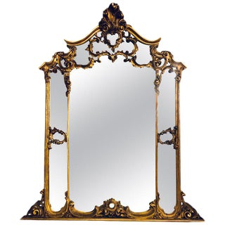 Large Carved Louis XVI Style French Gilt Gold Over the Mantle or Wall Mirror For Sale