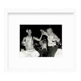 Custom Framed Black & White Photograph of Luau Girl & Dancing Man Art For Sale