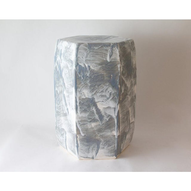 The garden stool is shown with our Grey Drip brushed glaze. Handmade. Signed by Paul Schneider. Lead time five weeks....