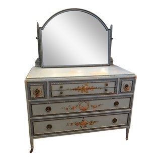 Antique French Country Shabby Chic Blue Dresser