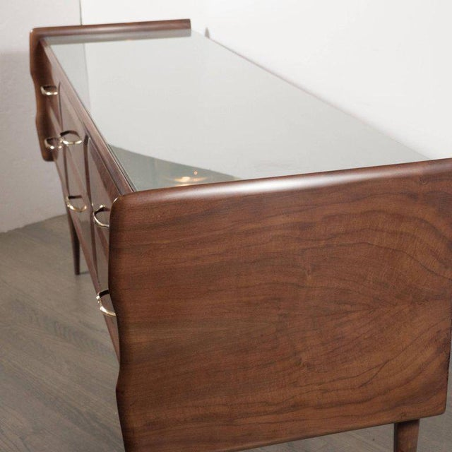 Italian Midcentury Chest in Walnut with Stylized Brass Pulls and Vitrolite Top For Sale - Image 9 of 10