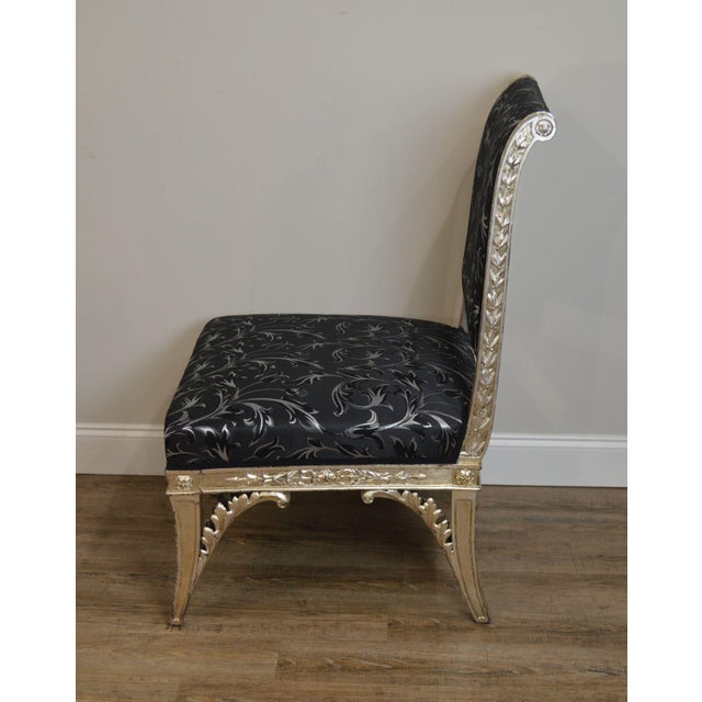 Silver Leaf French Regency Style Slipper Chair For Sale In Philadelphia - Image 6 of 12
