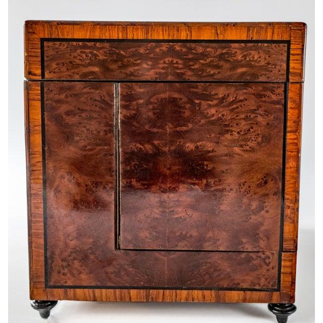 Antique French Tantalus Burlwood Hidden Liquor Cabinet & Glasses - Set of 8 For Sale - Image 9 of 12
