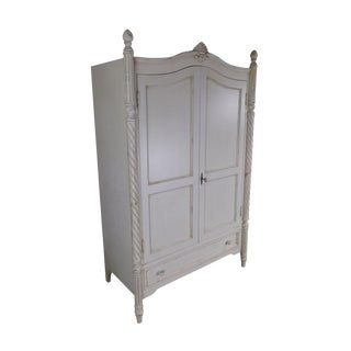 Swedish Style Shabby White Painted 2 Door Armoire Cabinet For Sale