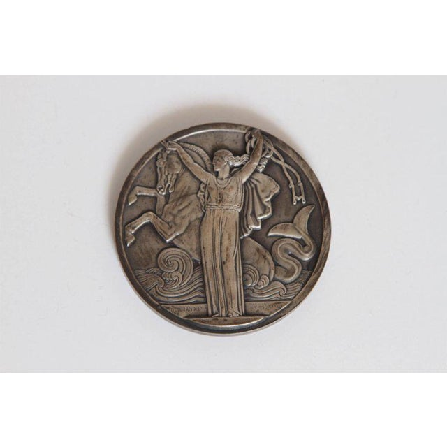 Art Deco Art Deco French Normandie Medallion by Jean Vernon Silvered Bronze For Sale - Image 3 of 11
