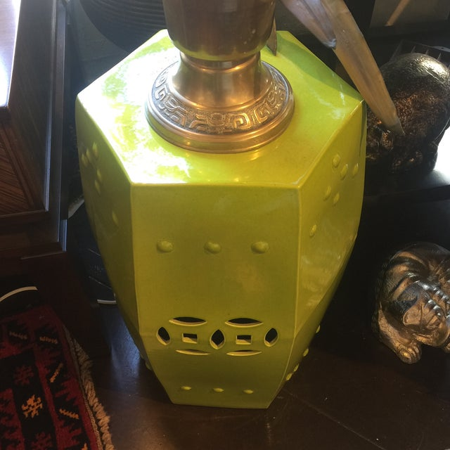 Asian Style Chartreuse Garden Stool For Sale - Image 10 of 10