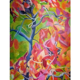 """Abstract """"Trees and Flowers"""" Acrylic Painting For Sale"""