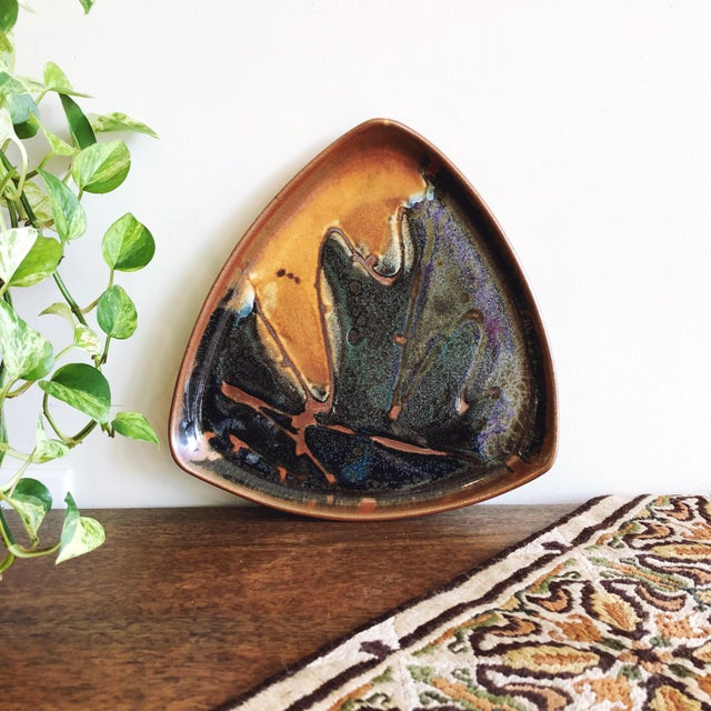 1990s Vintage Glazed & Slab Built Stoneware Tray For Sale - Image 5 of 5