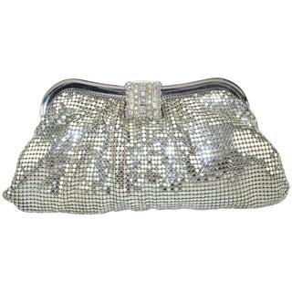 C.1950 Whiting & Davis Silver Mesh Clutch Evening Handbag For Sale