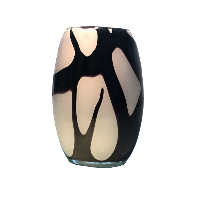 Murano Style Black and White Italian Glass Vase For Sale