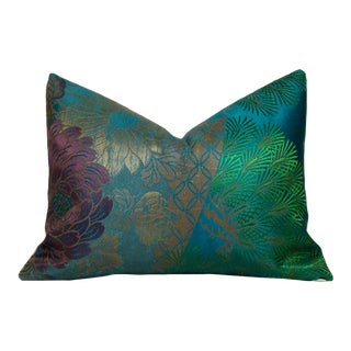 Lotus Flower & Pine Branch Antique Japanese Obi Lumbar Pillow Cover For Sale