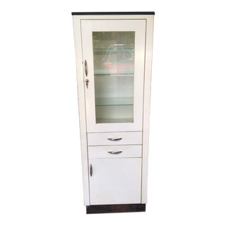 Vintage Metal Porcelain Medical Cabinet For Sale
