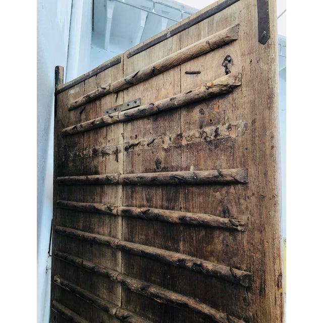 Antique Indian Teak Wood Hand Carved Doors For Sale - Image 10 of 12