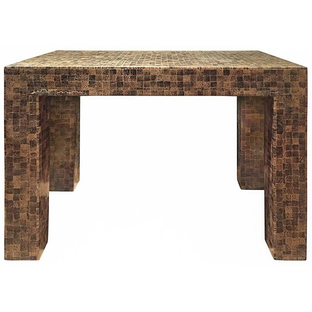 1970s Rectangular Lacquered Faux Snake Skin Checkerboard Side Table For Sale In New York - Image 6 of 6