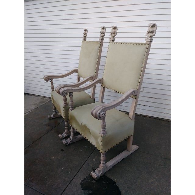 White 1920s Vintage Bleach Wood and Horse Skin Antique Chairs - a Pair For Sale - Image 8 of 12