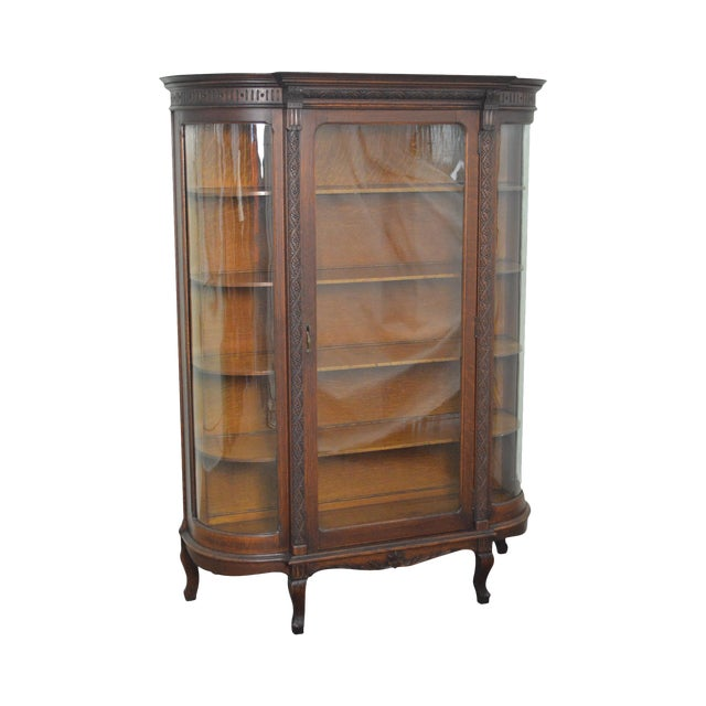 Antique Victorian Oak Bow Glass China Cabinet - Antique Victorian Oak Bow Glass China Cabinet Chairish