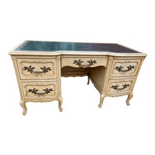 Vintage French Leather Top Office Desk For Sale