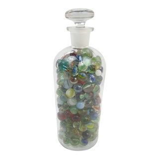 Antique Apothecary Jar of Glass Marbles For Sale