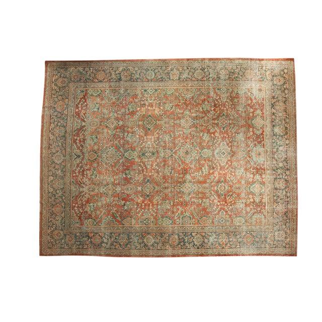 "Vintage Distressed Mahal Carpet - 10'8"" x 13'8"" - Image 1 of 10"