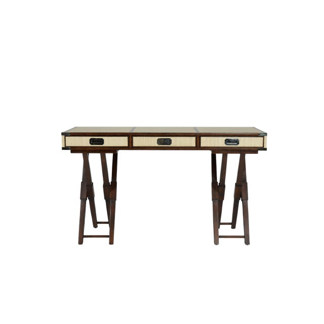 Campaign David Francis Mahogany/Leather Writing Desk For Sale