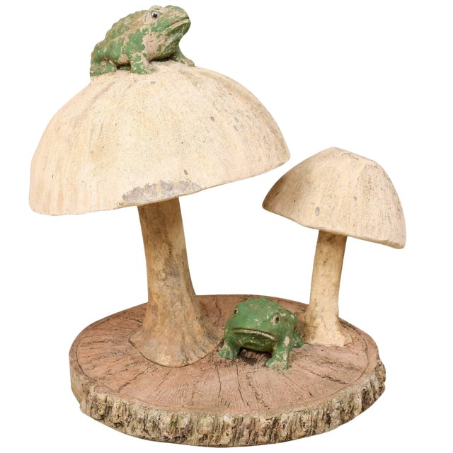 Tall Mushrooms and Frogs Garden Sculpture on Faux Bois Slab Base For Sale