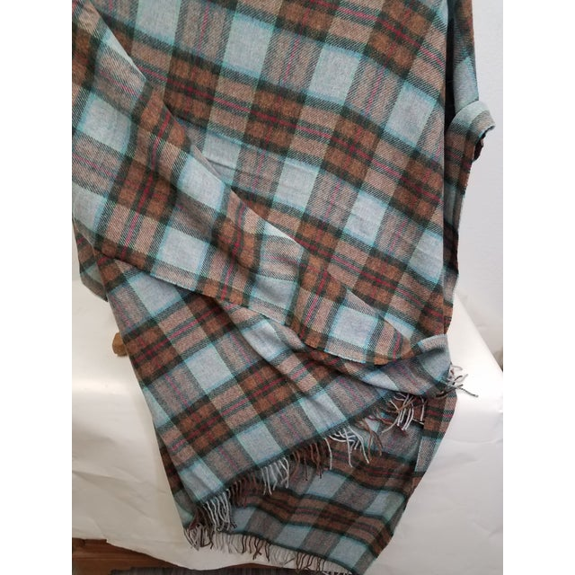 2020s Wool Throw Red Blue Orange Plaid - Made in England For Sale - Image 5 of 12