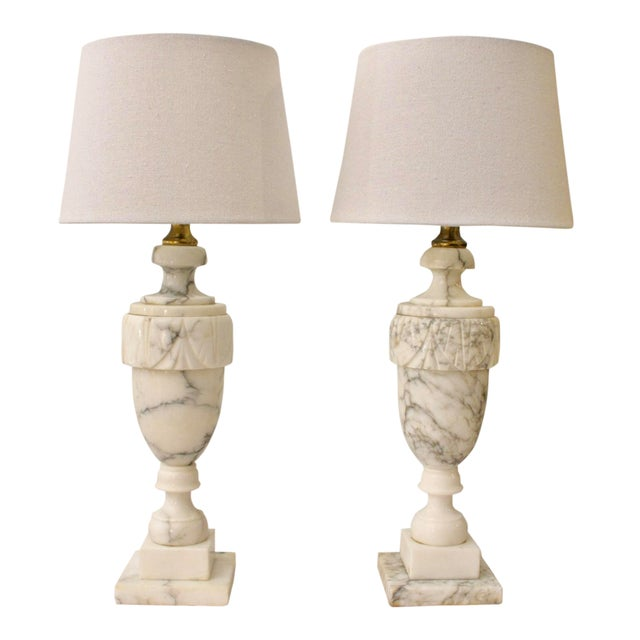 Neoclassical Carved Marble Lamps - A Pair For Sale