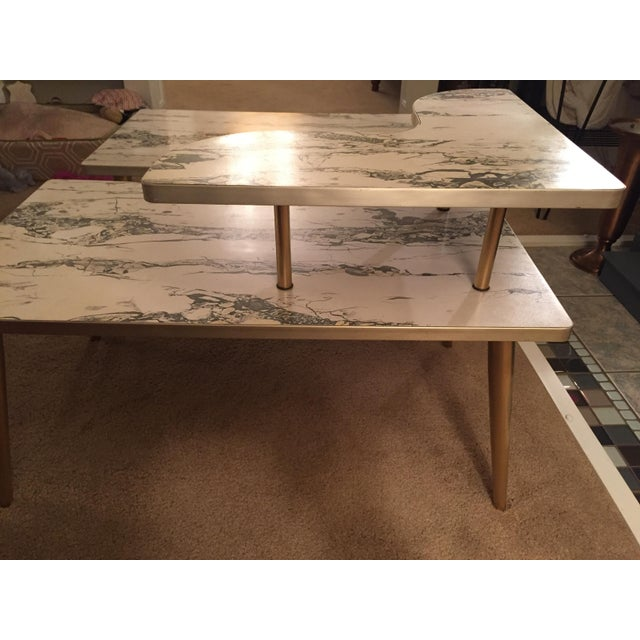 Mid-Century Formica Marble End Tables - A Pair - Image 7 of 10