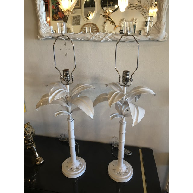 Vintage pair of Palm Tree frond leaf metal tole table lamps. These have been meticulously restored. Newly powder coated in...