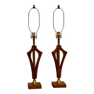 Sculpted Walnut Table Lamps - a Pair For Sale