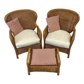 Mid 20th Century Rustic Wicker Chairs & Ottoman - Set of 3 For Sale