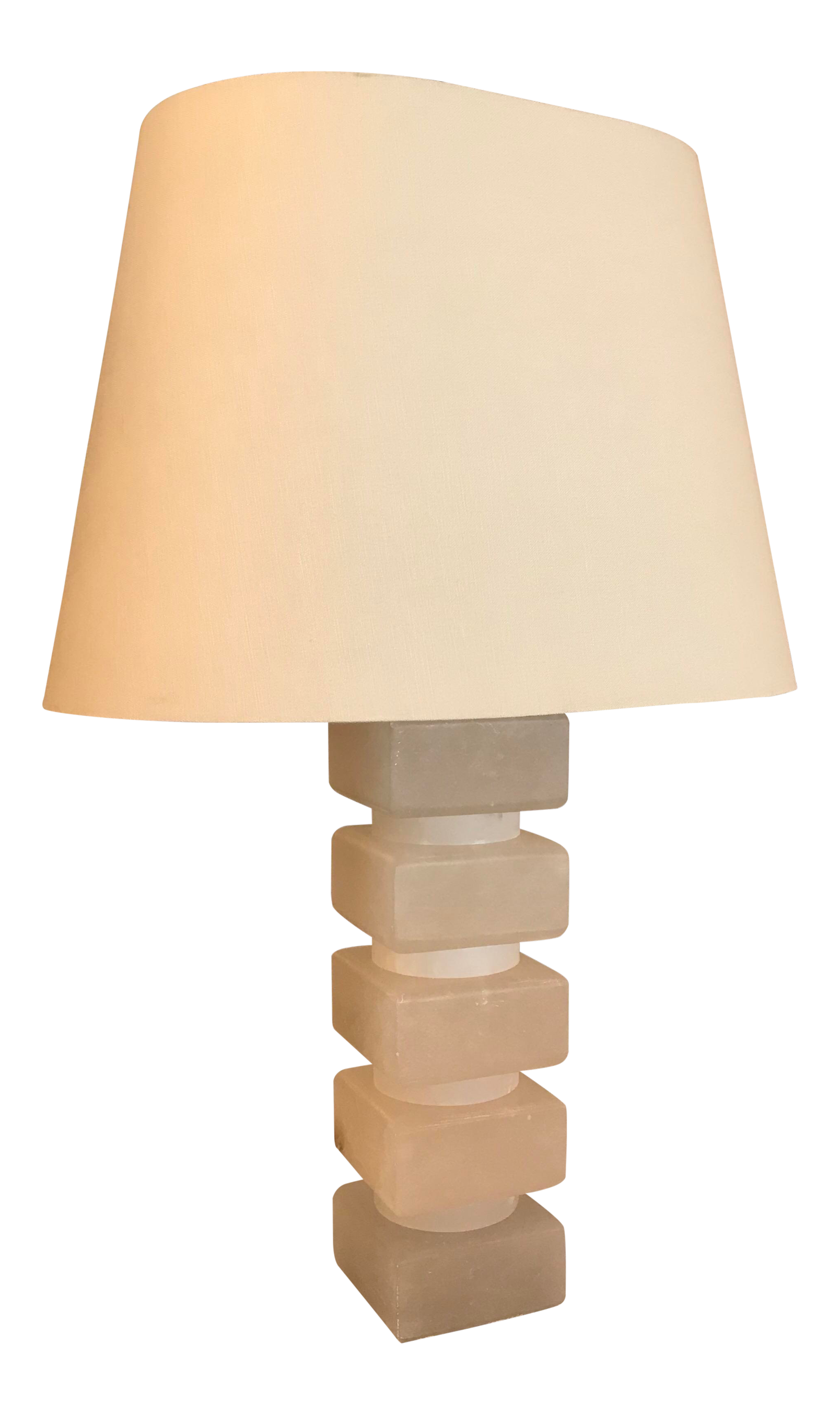 Mid Century Modern Stacked Alabaster Stone Block Table Lamp