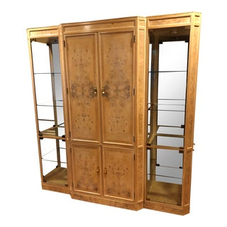 Modern Drexel Heritage Corinthian Lighted Breakfront China Cabinet For Sale