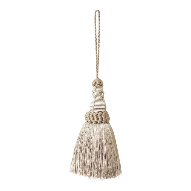 Key Tassel in Pewter and Silver With Looped Ruche Trim For Sale