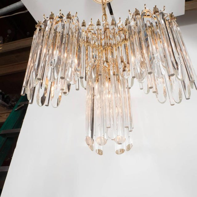 Brass Mid-Century Draped Design Chandelier by Lobmeyr, 24-Karat Gold-Plated Fittings For Sale - Image 7 of 10