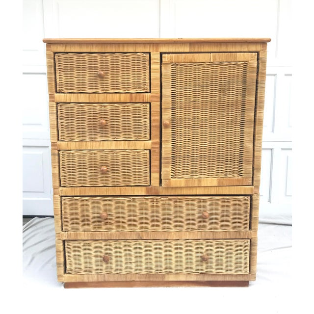 20th Century Boho Chic Rattan Dresser Wardrobe For Sale In Los Angeles - Image 6 of 7