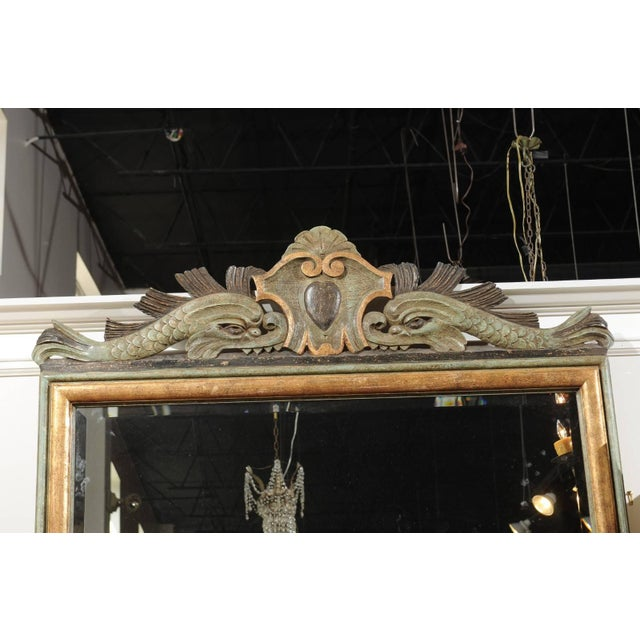 Wood Italian 1850s Baroque Style Painted Mirror, Hand-Carved with Stylized Dolphins For Sale - Image 7 of 12