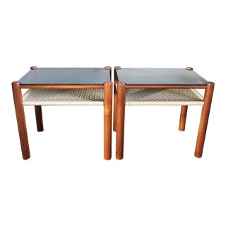 Danish Style Teak Frame End Tables - a Pair For Sale