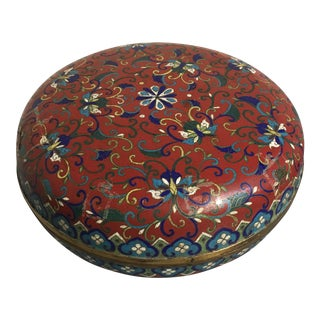Large Chinese Qing Dynasty Red Cloisonné Round Box For Sale