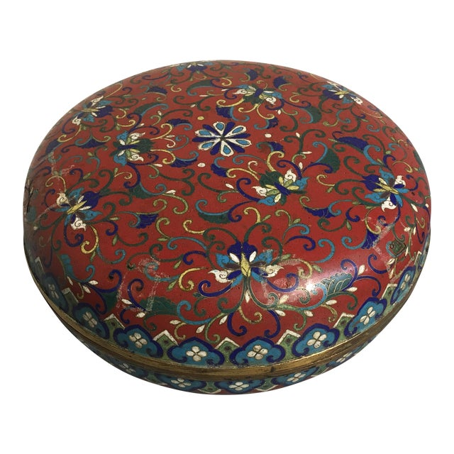 Large Chinese Qing Dynasty Red Cloisonné Round Box - Image 1 of 10