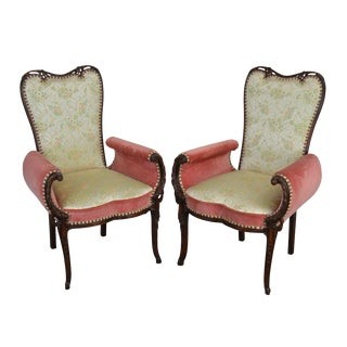 Grosfeld House 1940's Carved Mahogany Hollywood Regency Pair Fireside Chairs For Sale
