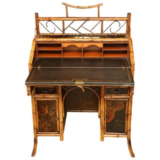 19th Century English Bamboo Knee-Hole Desk For Sale