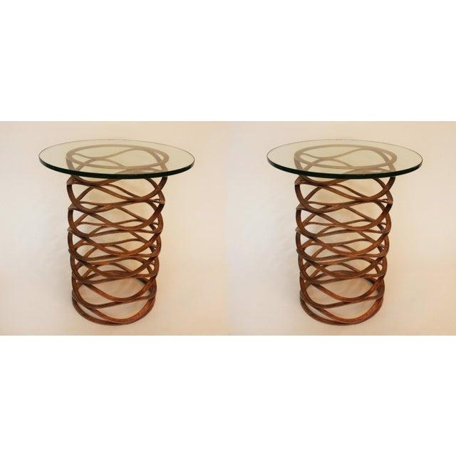 Gold Leaf Modern Gold Leaf Bracelet Tables - A Pair For Sale - Image 7 of 7