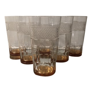 Set of 6 Art Deco Antique Hawkes Amber Cut Crystal Highballs For Sale
