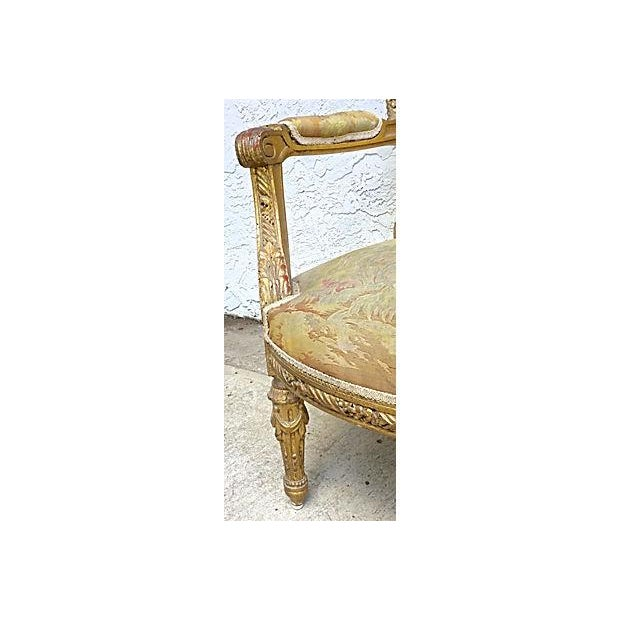 Charles X Antique Aubusson Fauteuil For Sale - Image 10 of 11