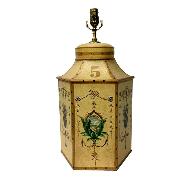 Tan Vintage Chinese Export English Tea Caddy Lamps For Sale - Image 8 of 13