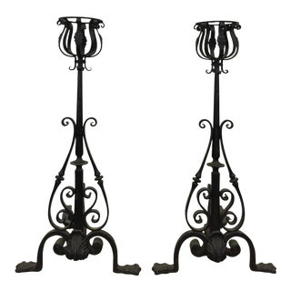 Late 19th Century Large Andirons - a Pair For Sale